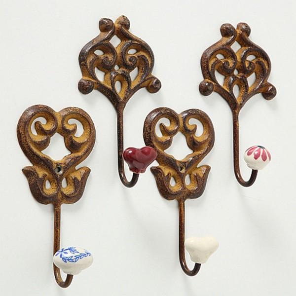 Metall Garderoben Haken 4er Set mit farbigen Keramik-Knöpfen, Wandhaken, 1070300, 4020606576903