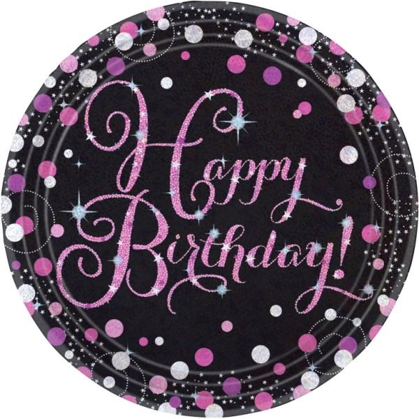 Schwarzer Pappteller mit Happy Birthday in pink