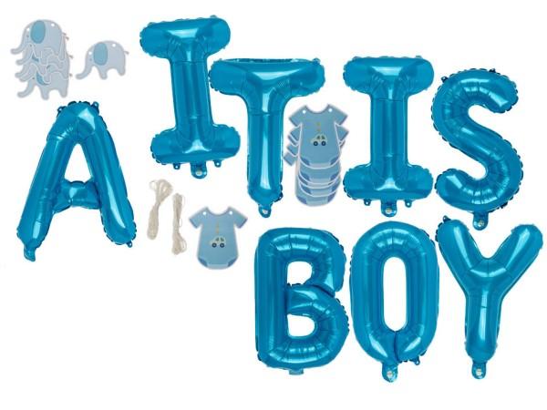"Folienballon Set blau ""It IS A BOY"" Luftballon zur Geburt Junge"