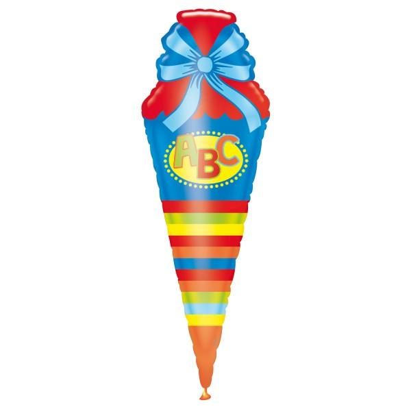 Folienballon blau bunt zur Einschulung, Schultüte, Schulanfang, Heliumballon, Luftballon
