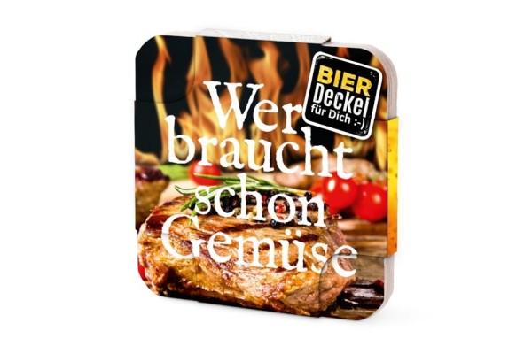 """Bierdeckel aus Pappe mit Spruch """"Wer braucht schon Gemüse"""", Männergeschenk Grillen, 6 Stück, 213450, 4027268235124"""
