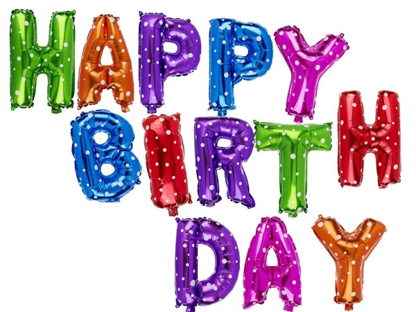 """Luftballon Folien Ballon """"HAPPY BIRTHDAY"""" mit bunten Buchstaben, Geburtstagsdekoration"""
