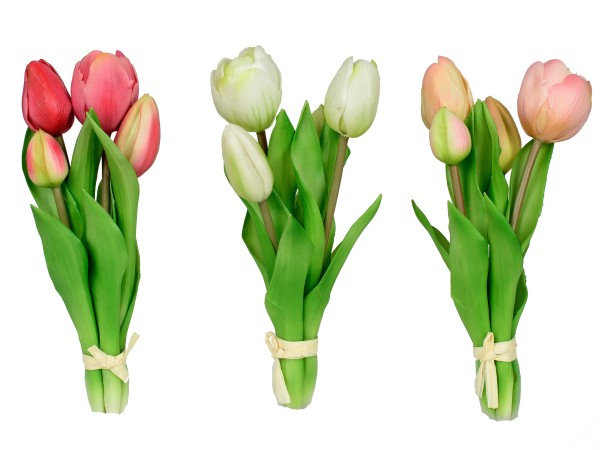 Kunstblume Tulpenbündel weiß, rosa, rot, 671028,