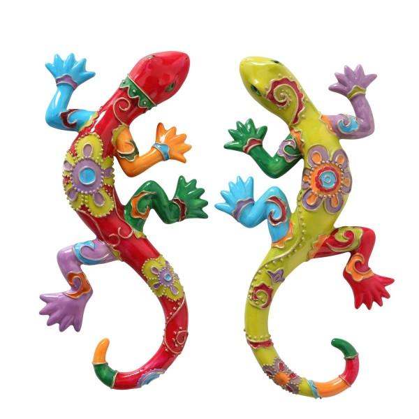 Deko Eidechse, Gecko Salamander orientalisch rot, grün, bunt, Wandfigur, 5273000, 4020606729842