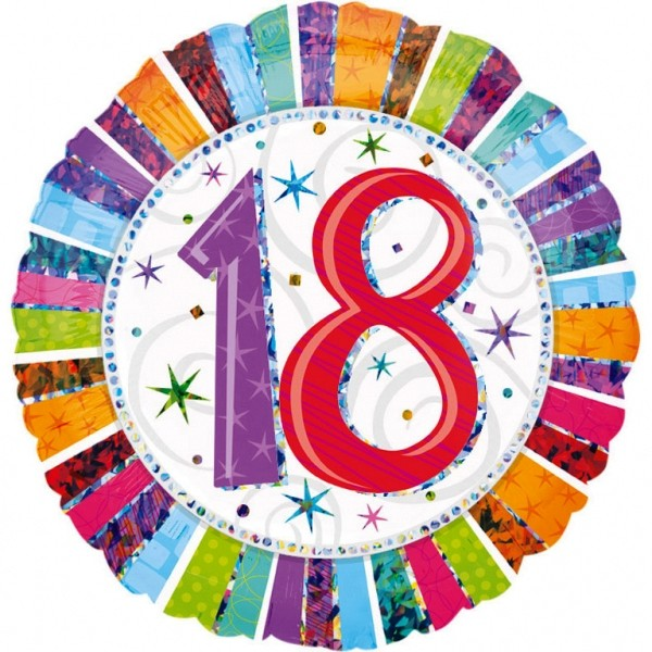Bunter Heliumballon Folienballon zum 18. Geburtstag - 026635160674