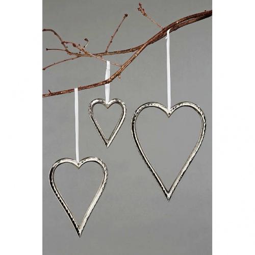 metall h nger herzen 3er set silber h 10 22cm deko herz hochzeitsdekoration ebay. Black Bedroom Furniture Sets. Home Design Ideas