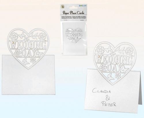 Platzkarte Hochzeit Tischkärtchen Wedding Day 10er Set Papier-Tischkarten