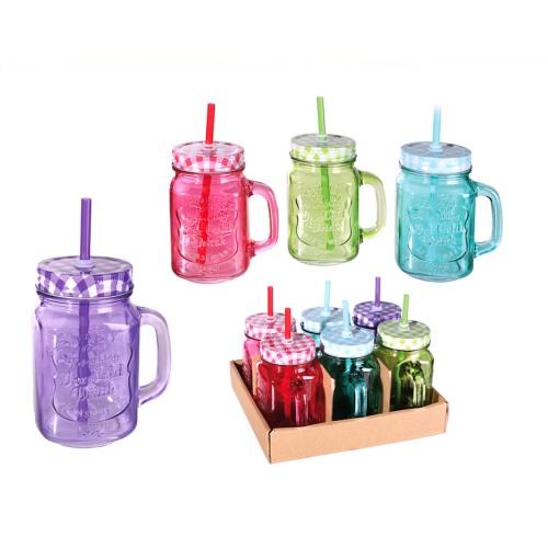 Trinkglas bunt mit deckel trinkhalm 6er set 450ml party for Deckel trinkglas